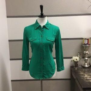 Maeve-Emerald Polka Dot Button-Up Shirt